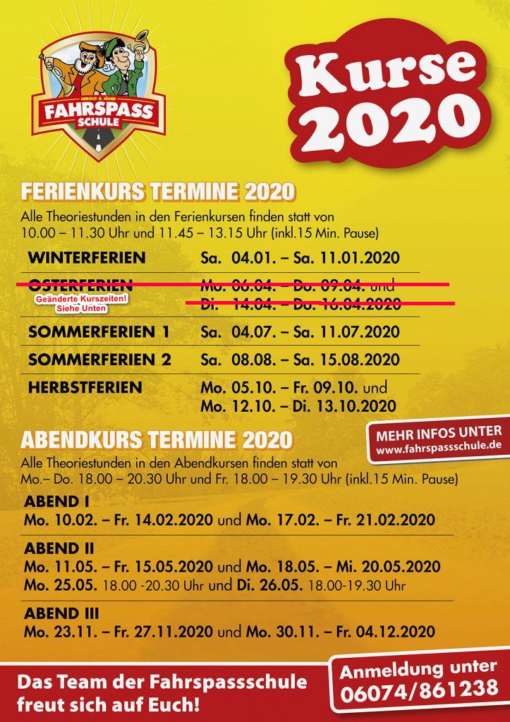 Kursänderung Ostern 2020